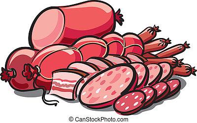 salsicce, prosciutto