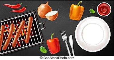 salsiccia, illustrazioni, veggies, poster., realistic., carne, vuoto, menu, piastra, griglia, vettore, 3d, dettagliato