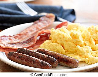 salsiccia, uova, strapazzato, bacon., colazione, pasto