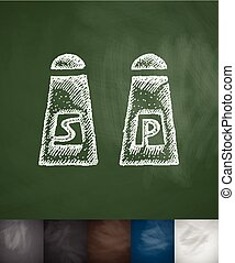 salt and pepper icon. Hand drawn vector illustration....