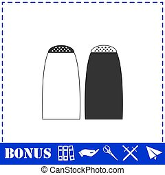 Salt and pepper shakers icon flat