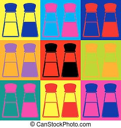 Salt and pepper sign. Pop-art style colorful icons set.