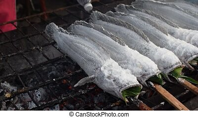 Salt-Crusted Grilled alive Fish - Salt-Crusted Grilled...