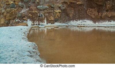 Salt Deposits Near A Pond, Maras, Andes, Peru - Close-up...