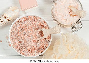 salt., esfregar, pêssego, toiletries, oil., feito à mão, ...