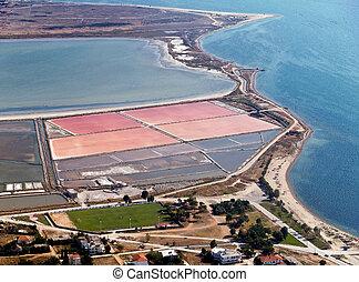 Salt evaporation ponds, aerial view