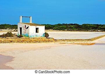 salt evaporation ponds in Ses Salines Natural Park in Formentera, Balearic Islands, Spain