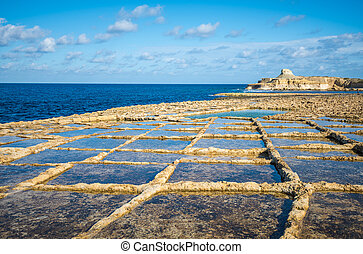 Salt evaporation ponds on Gozo island, Malta