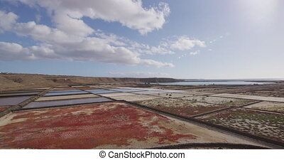 Salt flats - Janubio salt flats on Lanzarote Canary Islands Tourist Attraction and must-see destination on the Spanish Island. Famous tourist destination and beautiful nature landscape. RED EPIC.