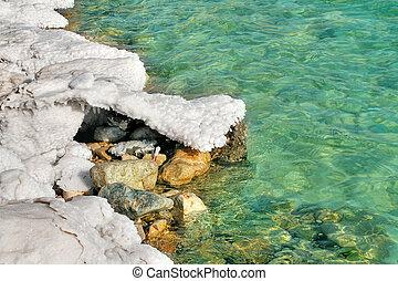 Salt formations on Dead Sea in Israel.