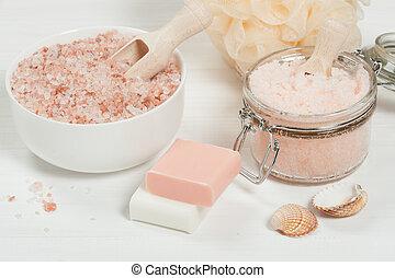 salt., frotter, pêche, articles toilette, oil., fait main, sucre, himalaya, spa, argan, set.