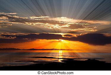 salt., great, solnedgang, sø, farverig