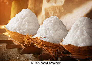 Salt in baskets. Ancient traditional salt production on the Bali island, Indonesia.