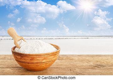 salt in bowl on table
