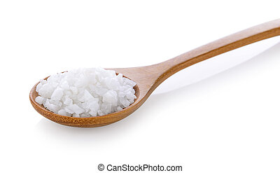 salt in wood spoon on white background
