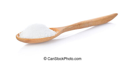Salt in wooden spoon on white background