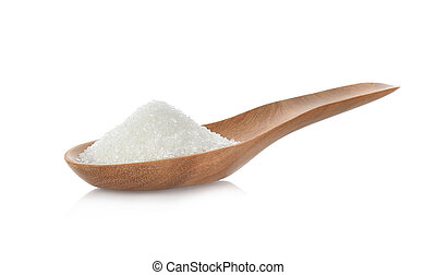 Salt in wooden spoon on white background