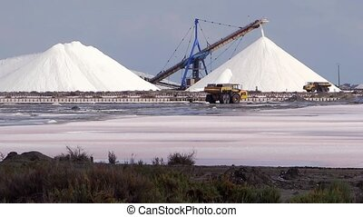 salt industry, footage of landscape with salterns