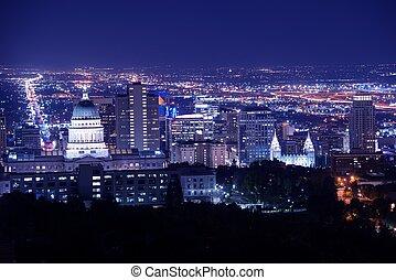 Salt Lake City at Night Panorama with Capitol Building. Salt...