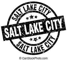 Salt Lake City black round grunge stamp
