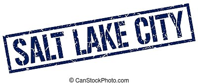 Salt Lake City blue square stamp