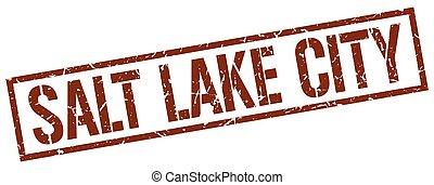 Salt Lake City brown square stamp