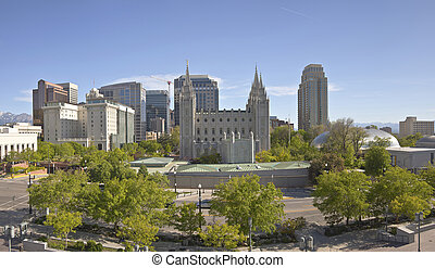 Salt Lake city downtown city view panorama.