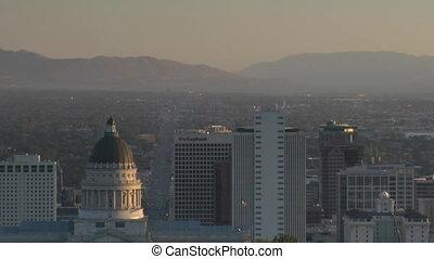 Salt Lake City establishing shot with Capitol dome