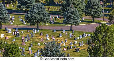 Salt Lake City graveyard view on a sunny day