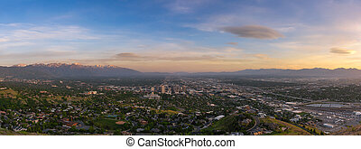 Salt Lake City overlook from Ensign Peak at sunset