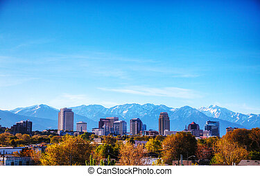 Salt Lake City overview on a sunny day