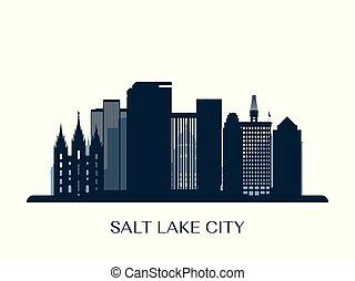 Salt lake city skyline, monochrome silhouette.