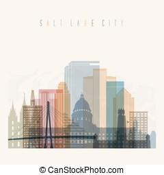 Salt Lake City skyline silhouette. - Transparent style Salt...
