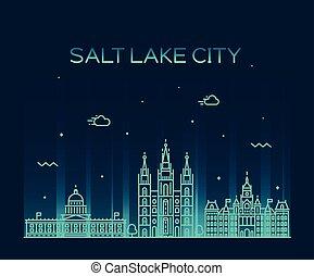 Salt Lake city skyline Utah vector linear style.