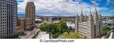Panoramic view of Salt Lake City downtown, Utah, USA