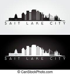 Salt Lake City USA skyline and landmarks silhouette, black...