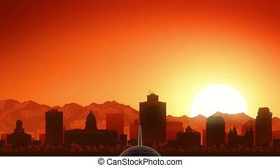 Salt Lake City Utah USA America Skyline Sunrise Take Off -...