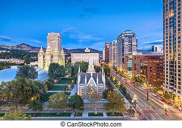 Salt Lake City, Utah, USA downtown cityscape over Temple Square