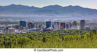 Salt Lake City with buildings and mountain view