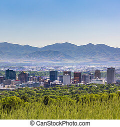 Salt Lake City with skyscrapers and mountain view