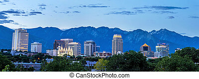 Morning skyline of Salk Lake City Utah