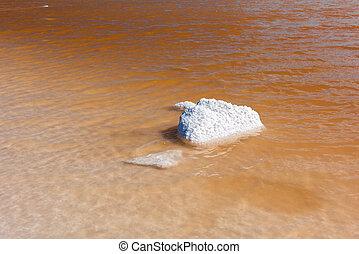 Salt lake in Tierra del Fuego in Argentina - Salt lake with ...