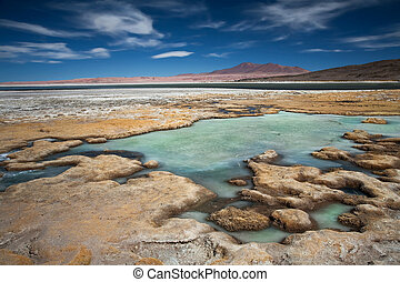 salt lake Salar de Tara, Chile, near the border between...