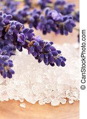 salt, lavendel, skönhet, blomningen, -, behandling, bad