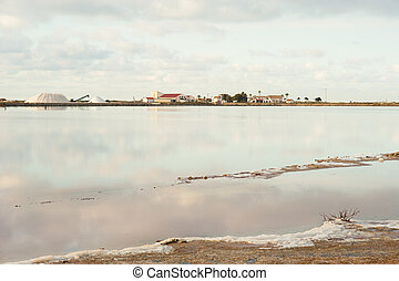 Salt marsh with drying water and saltern factory in the...