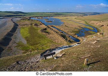 Salt marsh, UK. - Salt marsh in a river delta in East...
