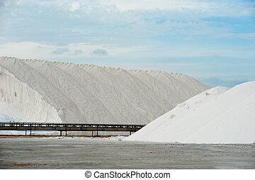 Salt mines - Industrial salterns, raw material piled up next...