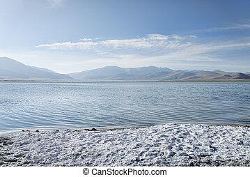 Salt on coast of mountain lake