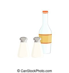 Salt, Pepper And Milk Baking Process  Kitchen Equipment Isolated Item