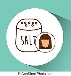 salt shaker icon cook, female avatar